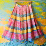 Christian Dior Multi-Color Leaf Pattern Pleated Skirt