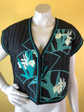 White Duck Workshop Art to Wear Applique Quilted Vest, sold exclusively at Empress Vintage in Berkeley, CA.