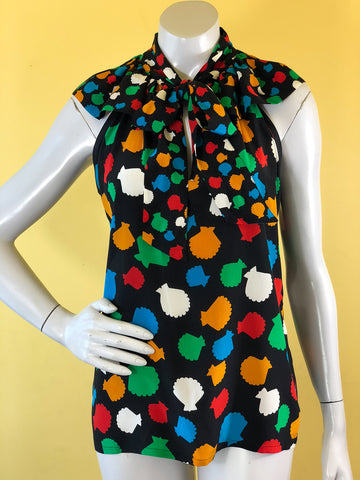 Yves Saint Laurent Sea Shell Print Multi-Color Blouse, sold exclusively at Empress Vintage in Berkeley, CA.