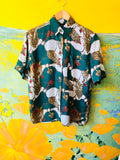 Empress Signature Silk Royal Goddess Print Button Up Shirt