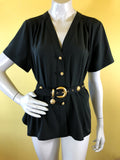 Yves Saint Laurent Black Button Up Blouse sold exclusively at Empress Vintage in Berkeley, CA.