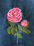Fiorucci Embroidered Roses Denim Skirt
