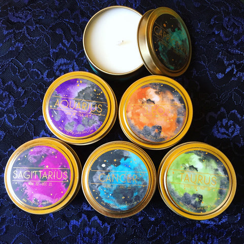 Astrology Zodiac Candles by Often Wander. Sold at Empress Vintage in Berkeley, CA.