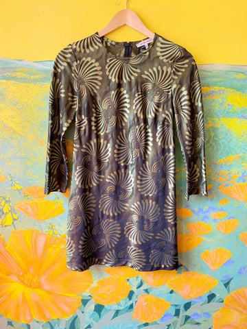 "Psychedelic Metallic Olive ""See by Chloé"" Shift Dress. Sold exclusively at Empress Vintage in Berkeley, CA."
