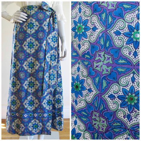 Vintage block print wrap skirt featuring mirrors and pockets on both sides.  Magical vintage from the Bay Area, California!