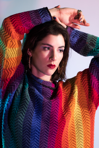 Rainbow Striped Cowl Neck Sweater. Sold exclusively at Empress Vintage in Berkeley, CA.