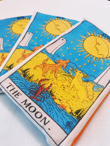 Need something to hold your tarot cards in?  What about a magical handmade bag with an image of The Moon card in the tarot? Sold exclusively at Empress Vintage in Berkeley, CA.
