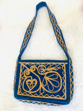 1960s/70s Blue Velvet Gold Embroidered Handbag