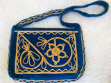 1960s/70s Blue Velvet Gold Embroidered Handbag found exclusively at Empress Vintage in Berkeley, CA!