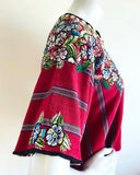 Deep Red Rainbow Striped Cropped Distressed Woven Guatemalan Huipil with Embroidered Flowers