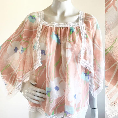 Semi Sheer Pastel Fairy Hem Lace Trimmed Blouse