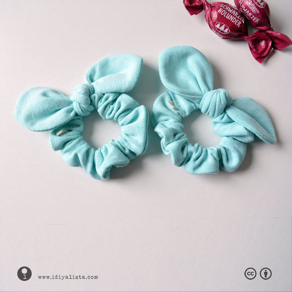 NANO SCRUNCHIES with Bow Knot • 1 PAIR • *LIGHTBLUE*