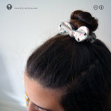 NANO SCRUNCHIES with Bow Knot • 1 PAIR • *HEARTSONWHITE*