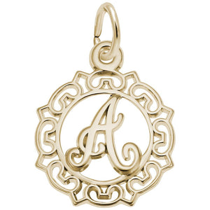Gold Scroll Initial(14KT) - Frank's & Sons Jewelry