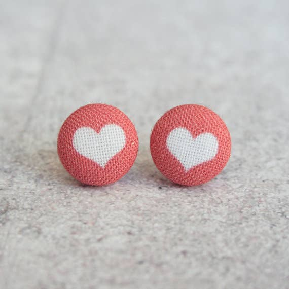 Red and White Heart Fabric Button Earrings