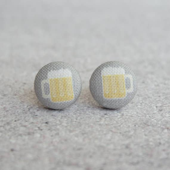 Beer Mugs Fabric Button Earrings