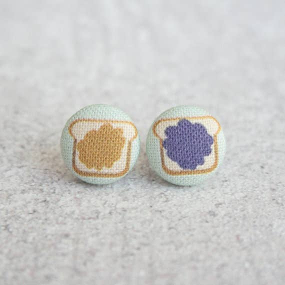 Peanut Butter and Jelly Fabric Button Earrings