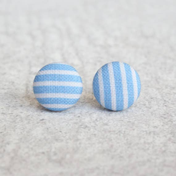 Blue Stripes Fabric Button Earrings