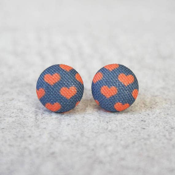 Tiny Red Hearts on Navy Fabric Button Earrings