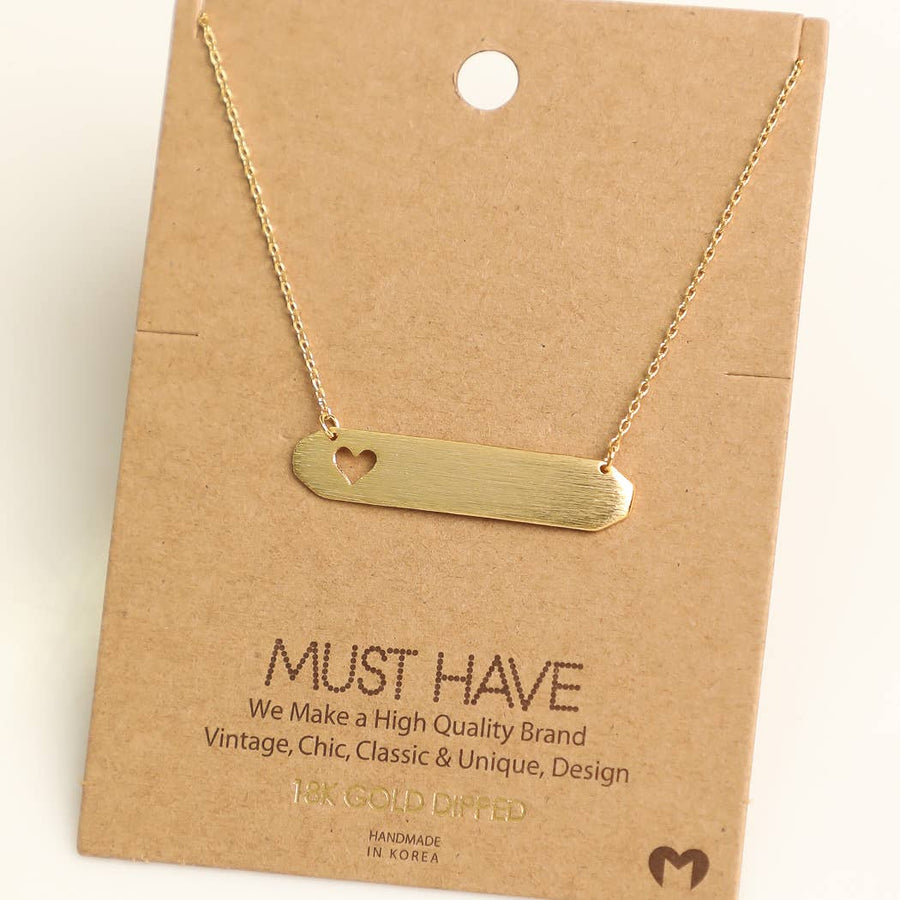 Heart Name Tag Bar Necklace