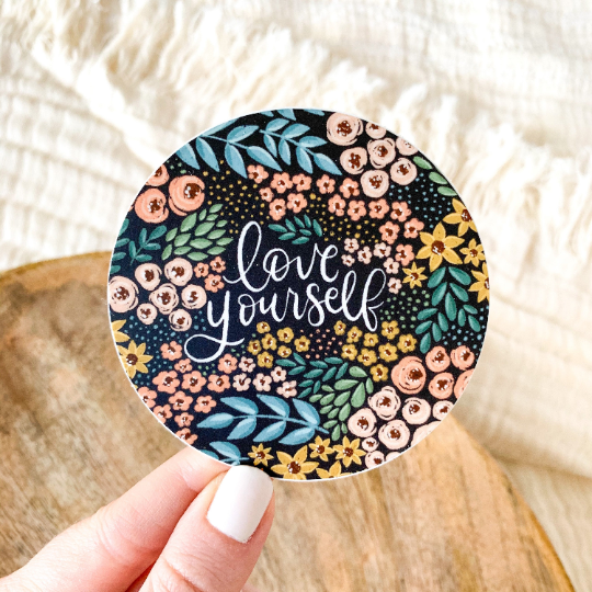 Love Yourself Floral Circle Sticker 3x3 in.