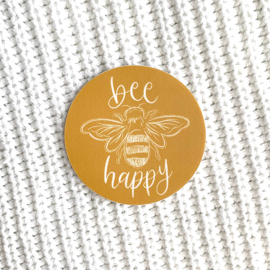 Bee Happy Sticker 2x2in.