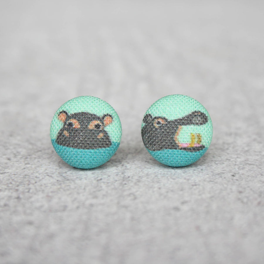 Hippo Fabric Button Earrings