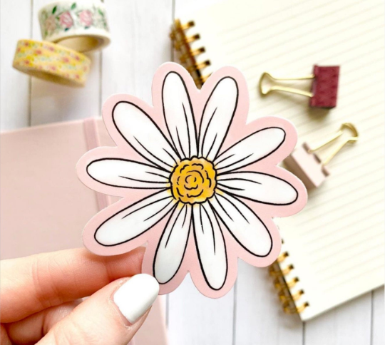 Pink Watercolor Daisy, 3x3 in.