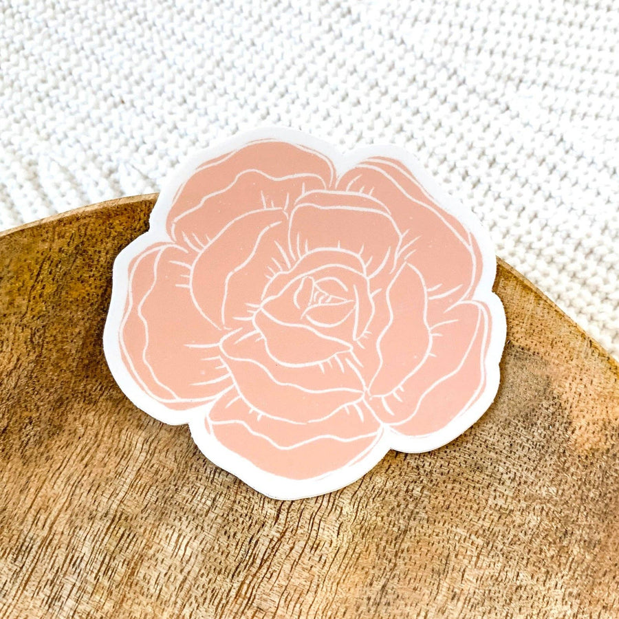 Pink Peony Design Sticker 3x3in.