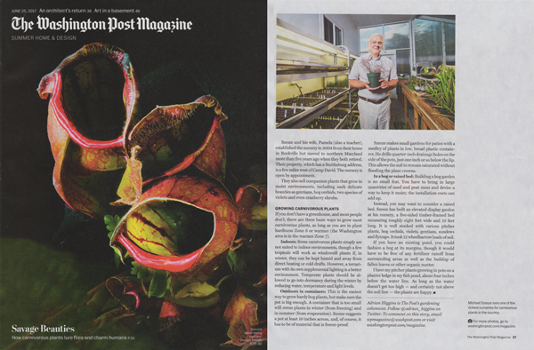 Carnivorous Plant Nursery in the Washington Post