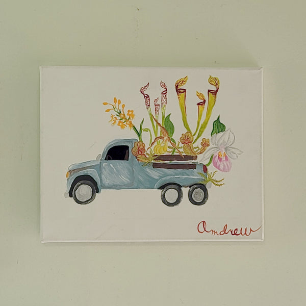 carnivorous plant in truck bed painting