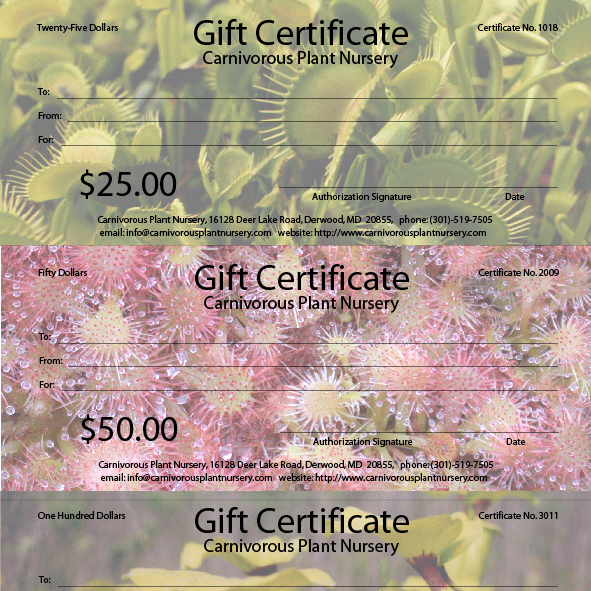 Gift Certificates from Carnivorous Plant Nursery