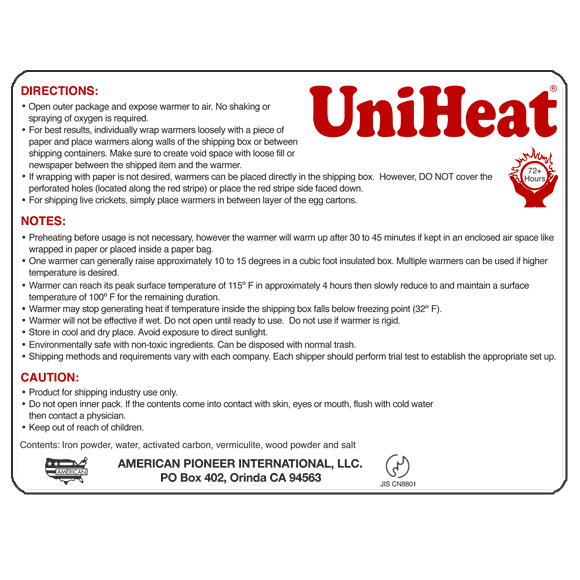 Uniheat Heat Pack 72 hour