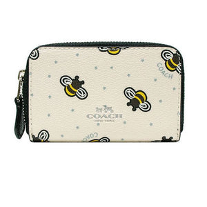 b247e0a90bb7a9 Coach Limited Edition Bee Print Zip Leather Coin/card Case Mini Wallet  F25885