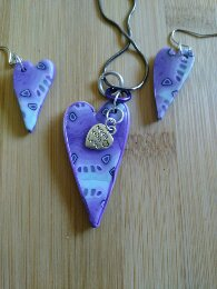 Mauve and bluish Heart set