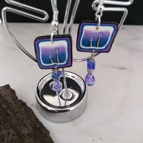 Simple Blue and Pink Flower earrings - thepurplecove.com