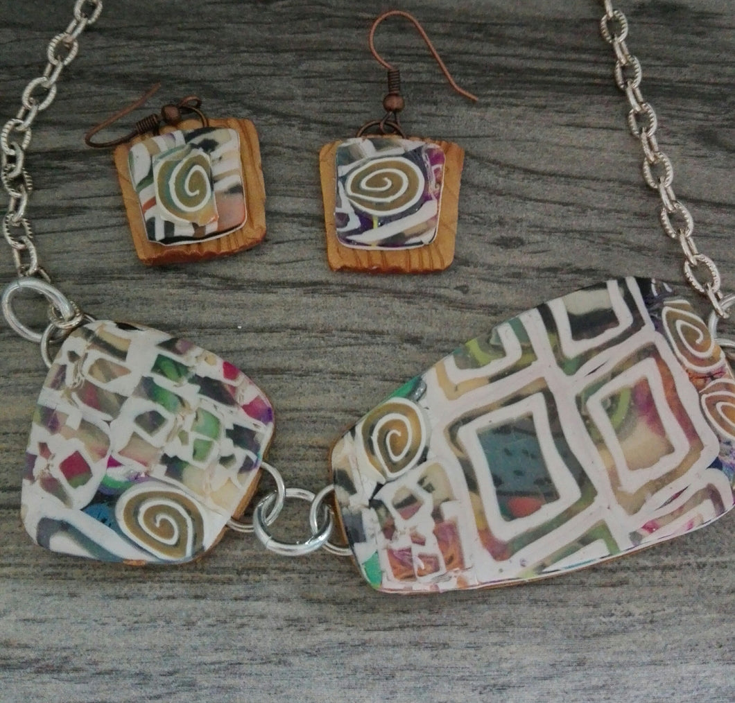 Stain Glass-like Necklace set (1) - thepurplecove.com