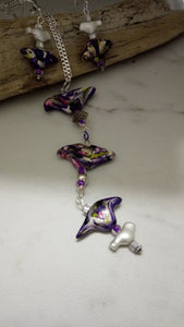 Dripping Birds Necklace set - thepurplecove.com