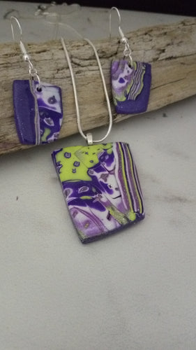 Abstract Purple/Green and White Pendant set - thepurplecove.com