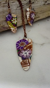 Purple and Gold Print Pendant set