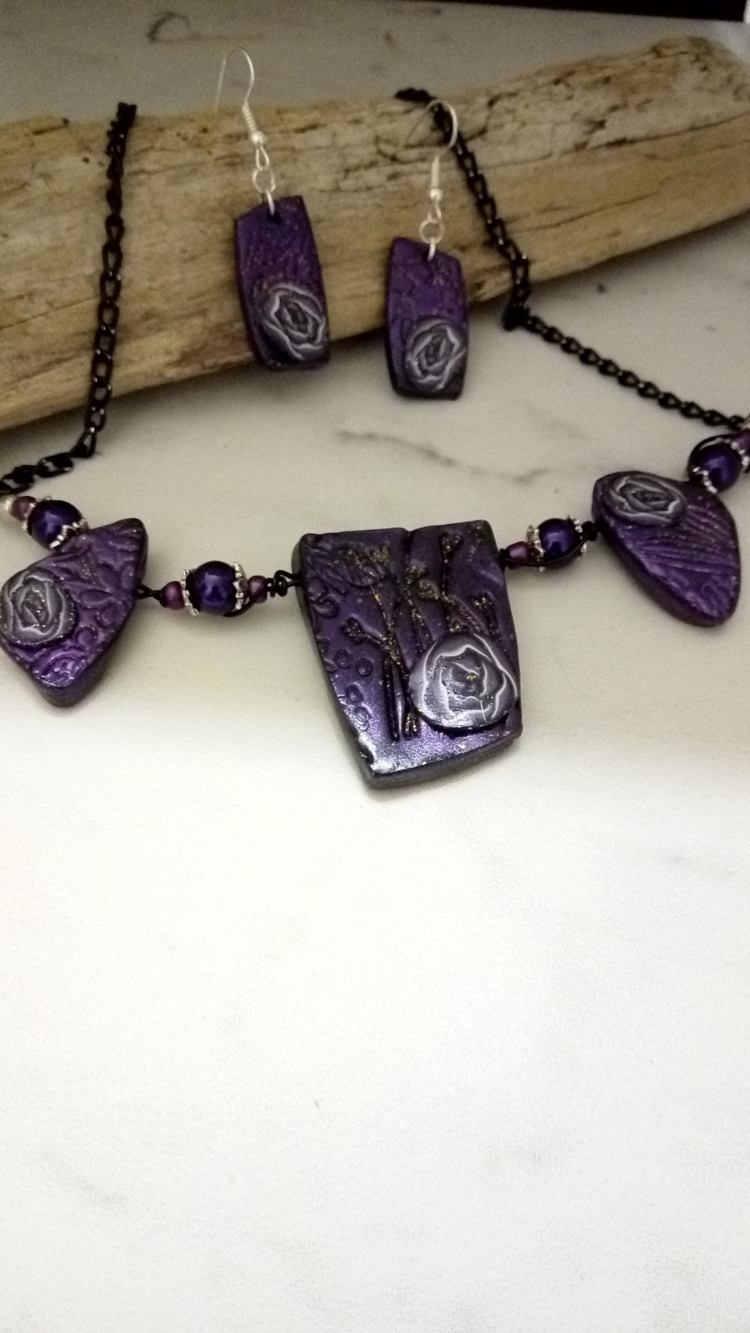 Purple and Silver Roses Statement necklace set