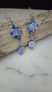 Blue and pink flower Earrings - thepurplecove.com