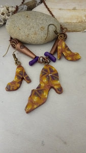 Pumpkin/Purple Shoe Necklace set - thepurplecove.com