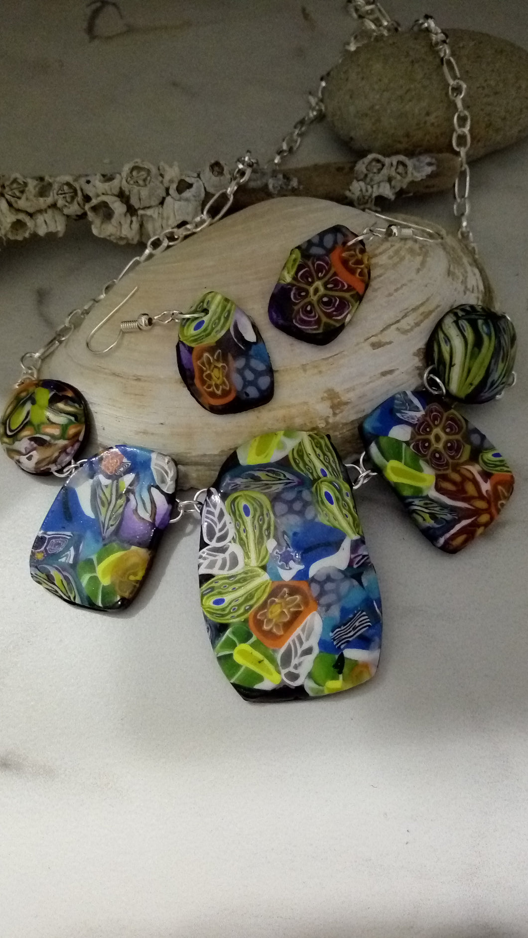 Bright Summer Blooms Statement Necklace set - thepurplecove.com
