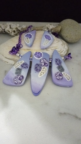 Lavender Garden Statement Necklace set - thepurplecove.com