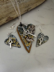 Key Hearts Necklace set - thepurplecove.com