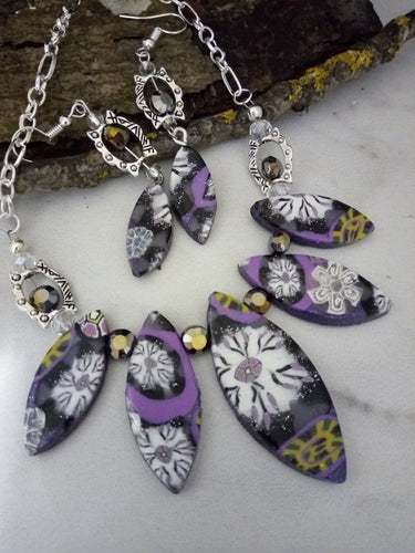 Wisteria Flower Petal Statement Necklace set