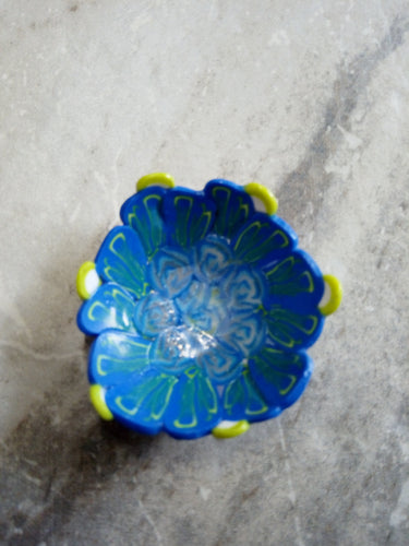 Mini Bowl Blue and green flowers 2