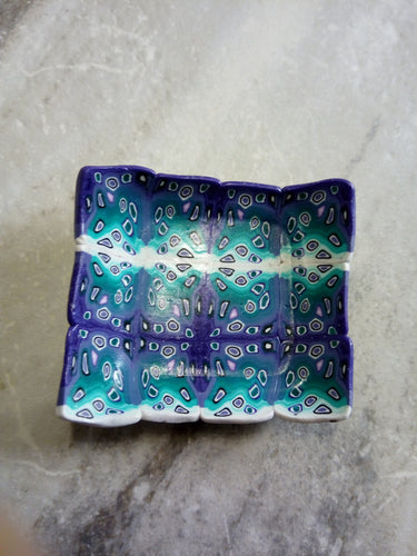 Bowl. teal and Purple graphic cane