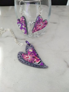 Bright Pomegranate Flower Heart set - thepurplecove.com